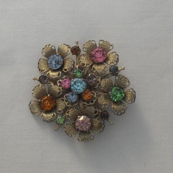 Rhinestone Brooch Pin Filagree Flower Silver Pink Green Amber Blue Vintage Jewelry SALE
