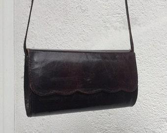 Vintage leather burgundy brown shoulder bag