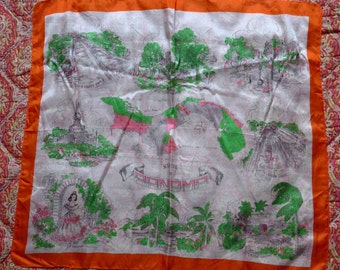 SALE - Beautiful 1940's Silk Souvenir Scarf from Panama