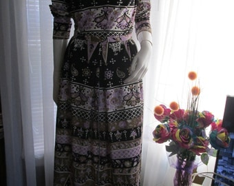 1970's Ladies Art Deco Print  Set/Bodysuit and Skirt by MARTIN BERENS Tall Fashions of Calif