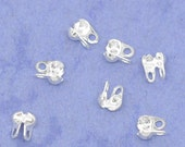 Silver Ball Chain Connector Clasp - Calottes End Crimps Beads - 4x3.5mm - 100pcs - Ships IMMEDIATELY from California - F352