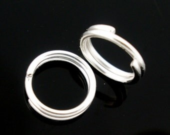 100 Jump Rings - Silver Plated - Double Loops - Open  - 22 gauge - 6mm Dia - Ships IMMEDIATELY from California - F382