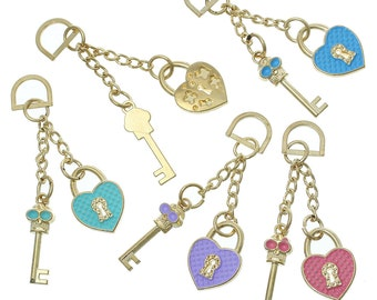 Key Heart Charms - Gold Plated - Assorted - Skull Patterns - 67x17mm - 2pcs - Ships IMMEDIATELY from California - GC104