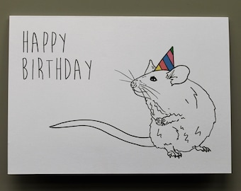 Animal Birthday Card - Mouse - Hand drawn and printed in the UK