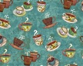 Clothworks - Coffee House - Teal - Coffee All Over