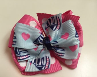 Pink Navy Light Blue Sailboats Nautical Hearts Summer Stacked Boutique Ribbon Bow Handmade for PETS Dog Bow Collar Accessory