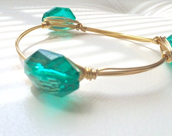 Teal Wire-Wrapped Bangle---MEDIUM