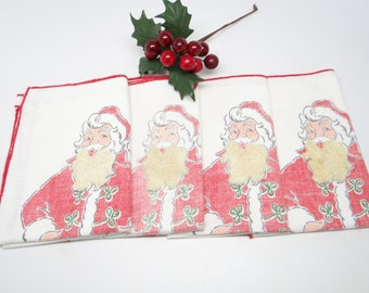 4 Vintage Linen Santa Napkins for Christmas