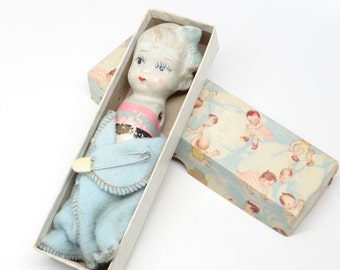 Vintage Bisque Girl Doll, Hand Painted, in Plakie Toy Box