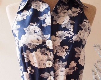 SALE Navy Dress Navy Floral Dress Floral Summer Dress Floral Bridesmaid Dress Shirt Vintage Inspired Sundress Floral Party Dress -Size S