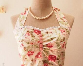 Once Upon a Time -Peach Pink Floral Dress Summer Dress Wedding Party Dress Bridesmaid Dress Sundress Pocket Dress (Optional)-XS-XL,Custom