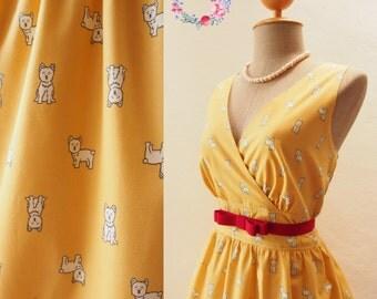 SALE Yellow Summer Dress, Puppy Cotton Dress, Mustard Party Dress, Women's Vintage Style Fashion, Yellow Dress- Size S