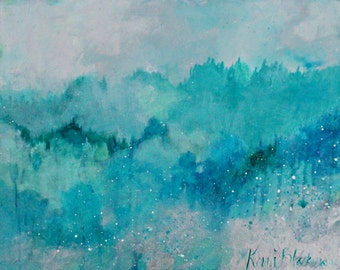 """Abstract Landscape Painting, Trees, Forest, Small, Original, Blue """"Trees Like a Sea"""" 14x11"""