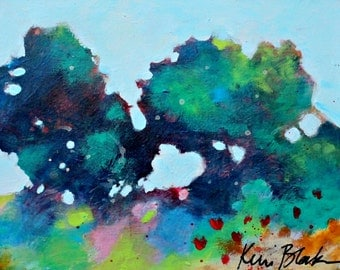 """Abstract Tree Painting, Loose Landscape, Small Original Artwork, """"Summer Trees"""" 8x10"""