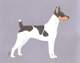 Rat Terrier handmade original one-of-a-kind art paper collage dog art all colors & undocked tails available