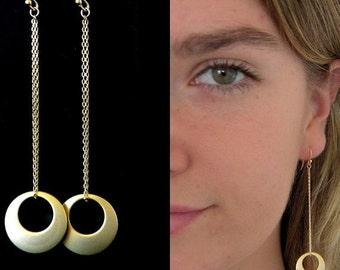 Long Circle Matte Gold Chain Earrings