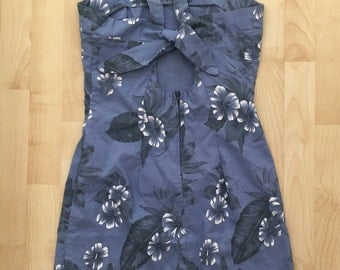 Mod Hawaiian tropical floral jungle print dress bow tie back medium 90s