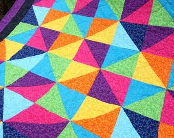 Rainbow Triangles Patchwork Quilt,  Handmade by PingWynny
