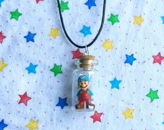 READY TO SHIP, Ice Mario in a Bottle Necklace
