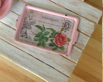 Dollhouse Miniature Shabby Chic SHabby Chic Pink Metal Tin Tray Serving Tray Handled Tray Decorative
