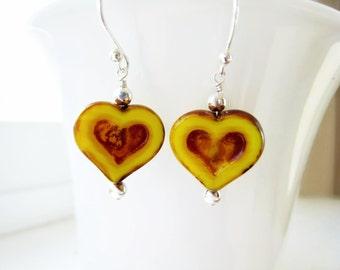 Heart Earrings Czech Glass Heart Earrings Valentines Day Jewelry Yellow Earrings Free Shipping USA Valentine Jewelry Romantic Gift Idea