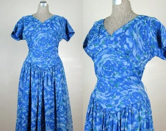 25% Off Summer Sale.... Vintage 1950s Blue Chiffon Dress 50s Drop Waist Full Skirt Party Dress VOLUP Size 14
