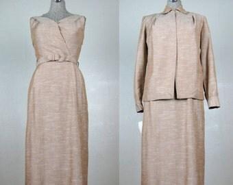 25% Off Summer Sale.... Vintage 1940s 1950s Dress & Jacket Set 40s 50s Rayon Linen Set by DeDe Johnson NOS Size 4/6 S