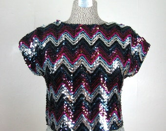 Vintage 1970s Sequin Disco Crop Top 70s Zig-Zag Sparkly Blouse by Toni Todd Size S