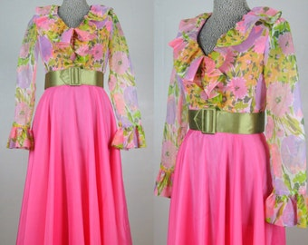 Vintage 1970s Pink Floral Chiffon Gown 70s Hostess Dress by Betty Bone Size 4/S
