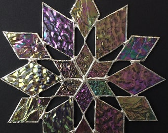 stained glass snowflake suncatcher  (design 34)