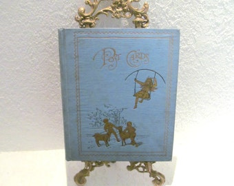 Antique Victorian Postcard Album Gold Gilded Embossed Cover Includes Three Postcards from as Early as 1903