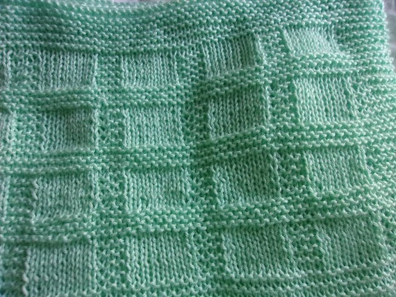 Textured Baby Blanket Knitting Pattern : Hand Knit Baby Blanket in a textured block pattern shown in