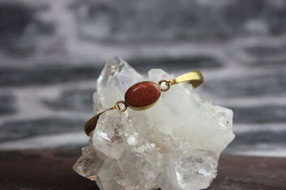 BRASS SANDSTONE BRACELET- Healing Crystals -Spiritual Jewelry -Flower of Life- Bracelet- Arm Cuff- Vintage Jewelry- Brass Bangle- Gold