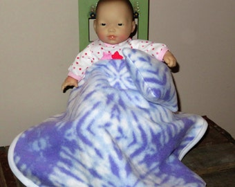 """Handmade Doll Blanket & Pillow Set ~ For 8"""" and 11""""-13"""" Baby Dolls ~ Purple and White Tye Dye Print"""