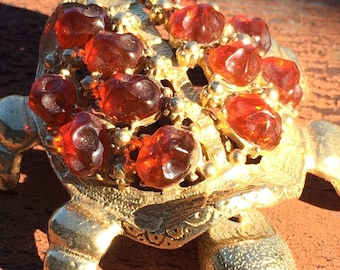 Vintage FLORENZA turtle figure Amber glass stones moving head tail