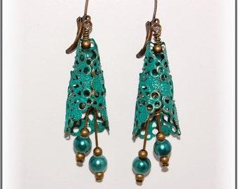 Teal filigree floral bohemian earrings-summer fall teal pearl beaded earrings-bronze ear wires-ocean beach theme-teen women jewelry-SRAJD