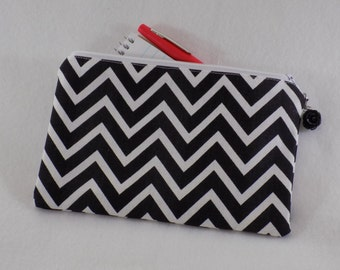 Lined Zipper Pouch Makeup Bag Gift for Her Under 15 30 Small Storage Gifts for Teacher Coworker Teen Girl Stocking Stuffer Graphic Chevron