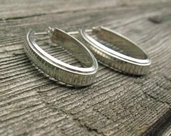 Big Sterling Silver Oval Earrings