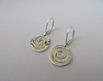Vintage Silver Tone Swirl Shape Earrings