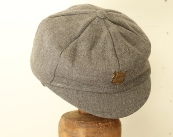 Gray Vintage Boys' Wool Hat Newsboy Cap with Ear Flaps and Strap Photography Prop