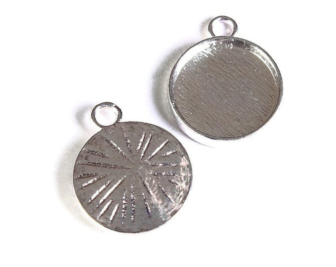 12mm Silver tray Pendant - 12mm cabochon settings - Silver findings - nickel free - lead free (1687) - Flat rate shipping