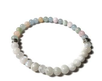 morganite aquamarine moonstone slim stretch bracelet size M