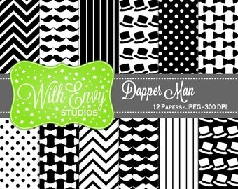 50% Black and White Digital Paper - Mustache Scrapbook Paper - Bowtie Digital Paper - Chevron Paper - Personal & Commercial Use
