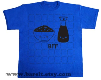Bowl of Rice and Soy Sauce Best Friends Forever (BFF) Geek Trendy Cute Funny Humor Tshirt  Size Small Medium Large XLarge