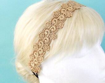 Gold Metallic Lace Elastic Headband, Bridal Headband, Elastic Headband, Boho Headband, Hair Band