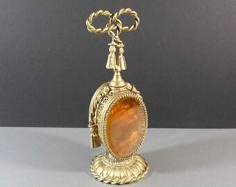 Grand Size Ormolu Amber Beveled Glass Perfume Bottle / Vanity Decanter