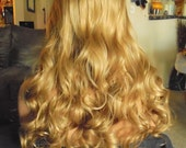SPRING SALE - Long Blonde Curly Hair - Part in the Middle Hair Piece - Approx. 25 Inches - Emo - Cosplay - Rockabilly - Durable