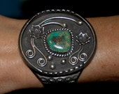 Lovely Vintage Navajo King's Manassa Turquoise Heavy Bracelet - 95 Grams hallmarked