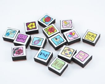 15 Mini Rubber foam stamps