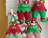 Embroidered Elf Christmas Stockings personalized with name or initials
